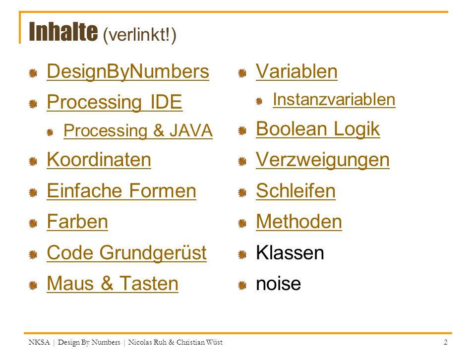 Grundstruktur für dynamische Sketches NKSA | Design By Numbers | Nicolas Ruh & Christian Wüst // Mein erstes Programm print(Hallo Welt); rect(10, 10, 50, 50); 33 Das war einfach – aber langweilig, weil statisch.