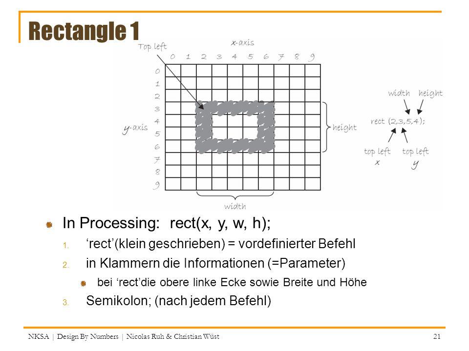 Rectangle 1 NKSA | Design By Numbers | Nicolas Ruh & Christian Wüst In Processing: rect(x, y, w, h); 1.rect(klein geschrieben) = vordefinierter Befehl