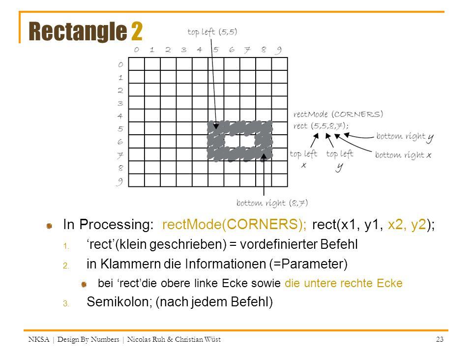 Rectangle 2 NKSA | Design By Numbers | Nicolas Ruh & Christian Wüst In Processing: rectMode(CORNERS); rect(x1, y1, x2, y2); 1.rect(klein geschrieben)