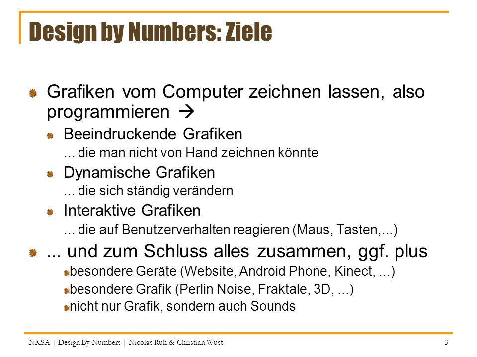 Ellipse Modes Wie bei rect: CORNER (x, y, width, height) CORNERS (x1, y1, x2, y2) CENTER (x, y, width, height) Zeichnet die Ellipse innerhalb dieser Bounding box Ein Kreis is einfach eine spezielle Ellipse (width = height) NKSA | Design By Numbers | Nicolas Ruh & Christian Wüst 24