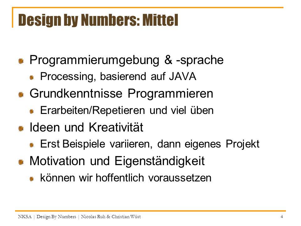 NKSA | Design By Numbers | Nicolas Ruh & Christian Wüst 95 Zufallszahlen Processing (und andere Programmiersprachen) kann eine zufällige Zahl generieren (also eigentlich ist das eine Lüge, aber eine nützliche) random() ist eineMethode, die eine zufällige Fliesskommazahl (float) generiert Beispiele: Untergrenze Obergrenze (exklusive) So kann man aus einer Fliesskommazahl eine Ganzzahl machen.