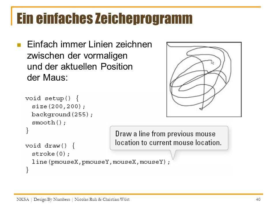 Ein einfaches Zeicheprogramm Einfach immer Linien zeichnen zwischen der vormaligen und der aktuellen Position der Maus: NKSA | Design By Numbers | Nic