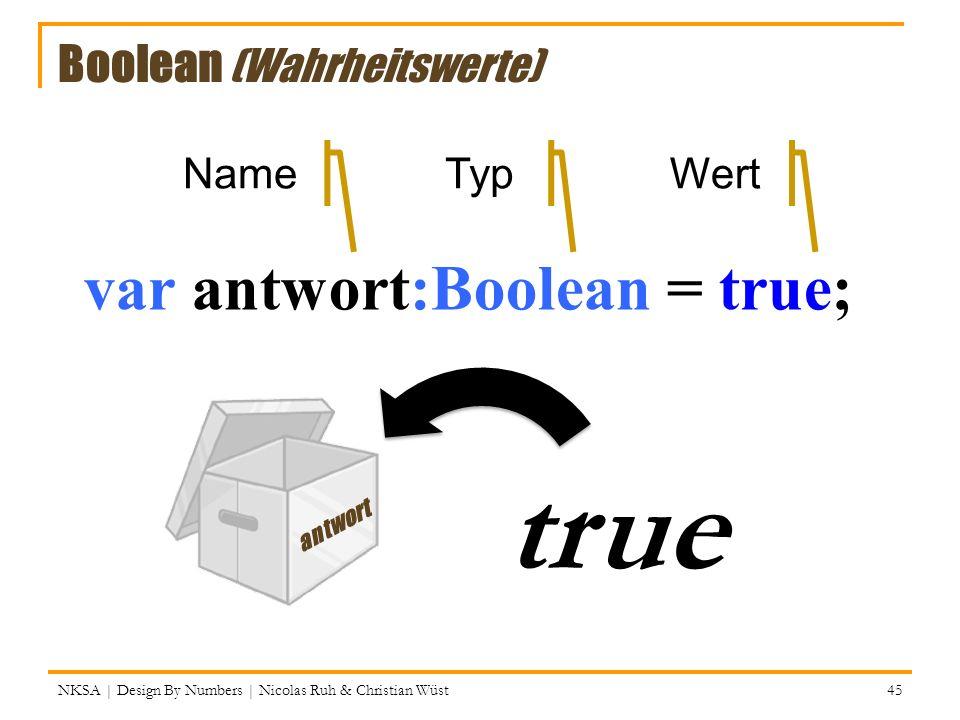 var antwort:Boolean = true; antwort true NameTypWert = NKSA | Design By Numbers | Nicolas Ruh & Christian Wüst 45 Boolean (Wahrheitswerte)