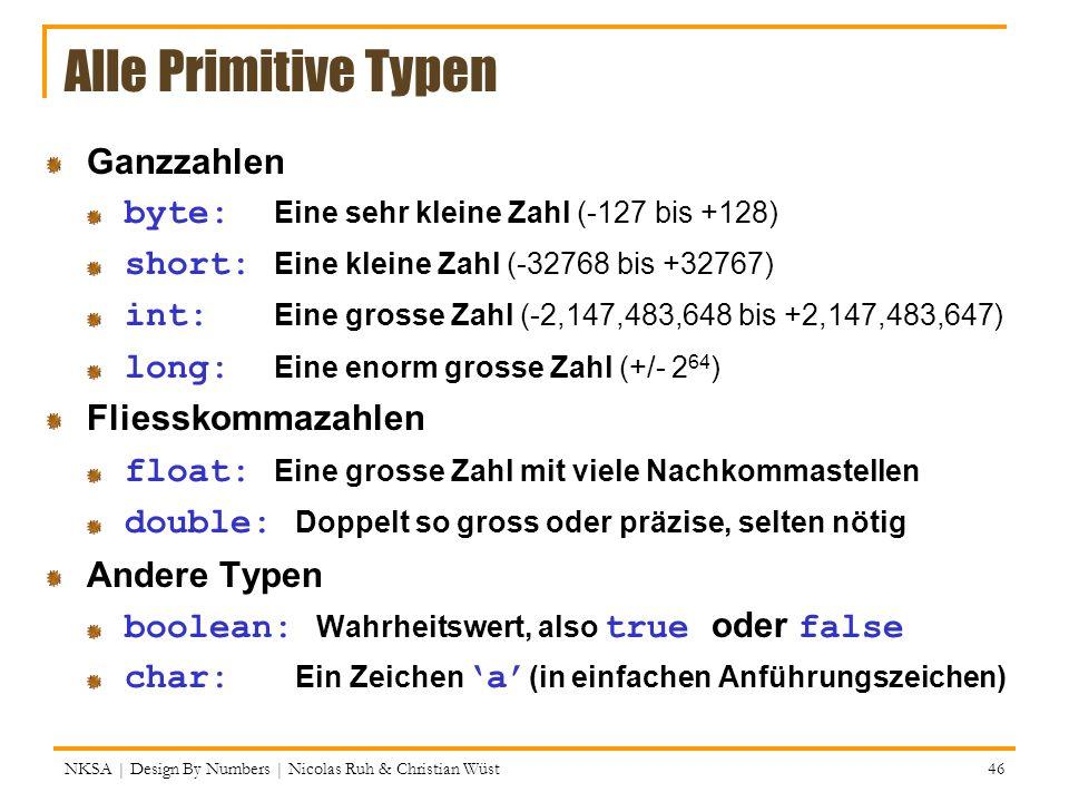 NKSA | Design By Numbers | Nicolas Ruh & Christian Wüst 46 Alle Primitive Typen Ganzzahlen byte: Eine sehr kleine Zahl (-127 bis +128) short: Eine kle