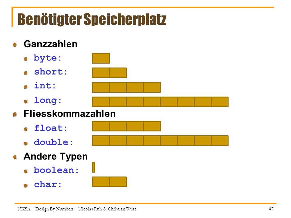 NKSA | Design By Numbers | Nicolas Ruh & Christian Wüst 47 Benötigter Speicherplatz Ganzzahlen byte: short: int: long: Fliesskommazahlen float: double