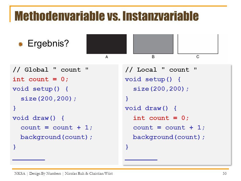 Methodenvariable vs. Instanzvariable // Global