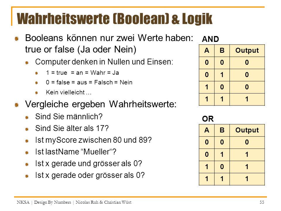 NKSA | Design By Numbers | Nicolas Ruh & Christian Wüst 55 Wahrheitswerte (Boolean) & Logik Booleans können nur zwei Werte haben: true or false (Ja od