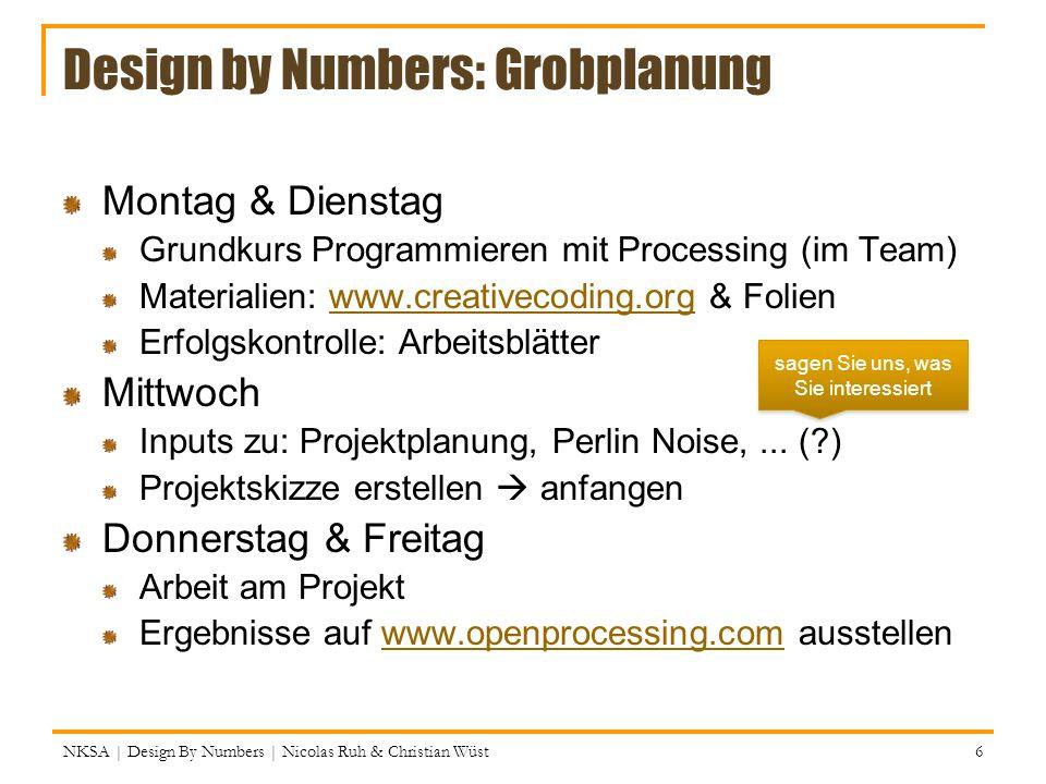 NKSA | Design By Numbers | Nicolas Ruh & Christian Wüst 77 Schleifen: for Wie while, nur alles an einem Ort (Semikolons!) : for (int x = 2; x < 10; x++){ print(la); } bei x = 2 anfangen; weitermachen, solange x < 10; in jeder Runde x um Eins erhöhen Action(s) Condition True False