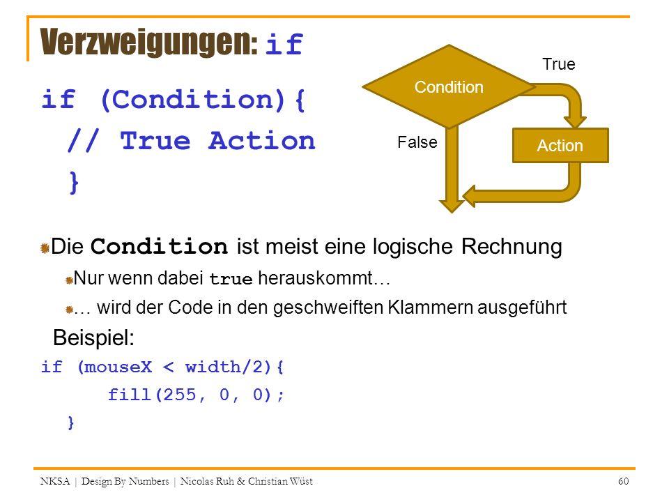 NKSA | Design By Numbers | Nicolas Ruh & Christian Wüst 60 Verzweigungen: if if (Condition){ // True Action } Die Condition ist meist eine logische Re