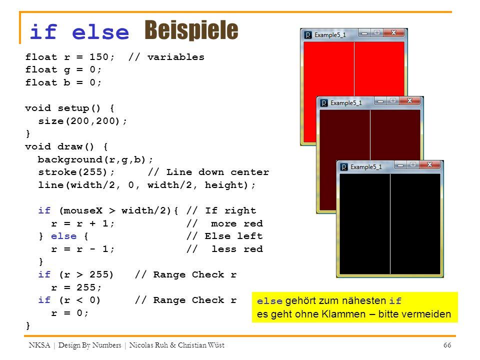 if else Beispiele NKSA | Design By Numbers | Nicolas Ruh & Christian Wüst 66 float r = 150; // variables float g = 0; float b = 0; void setup() { size