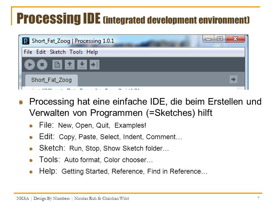 Anwendung von Farben // Hintergrundfarbe; gleich sichtbar background(255); // 100% weiss background(0,255,0); // 100% grün background(255,255,0); // 100% gelb // Rahmenfarbe für folgende Form(en) stroke(255,255,255); // weiss!.