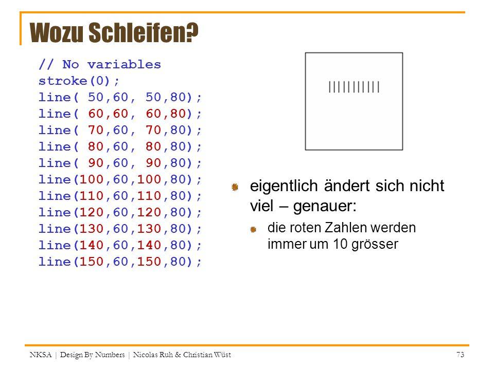 NKSA | Design By Numbers | Nicolas Ruh & Christian Wüst 73 Wozu Schleifen? // No variables stroke(0); line( 50,60, 50,80); line( 60,60, 60,80); line(