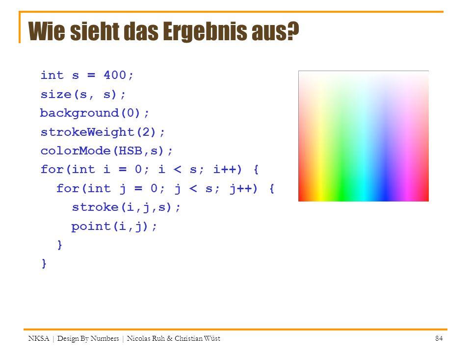 NKSA | Design By Numbers | Nicolas Ruh & Christian Wüst 84 Wie sieht das Ergebnis aus? int s = 400; size(s, s); background(0); strokeWeight(2); colorM