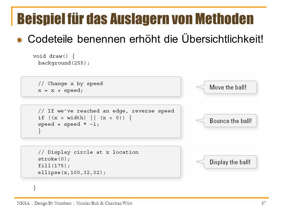 Beispiel für das Auslagern von Methoden Codeteile benennen erhöht die Übersichtlichkeit! NKSA | Design By Numbers | Nicolas Ruh & Christian Wüst 87