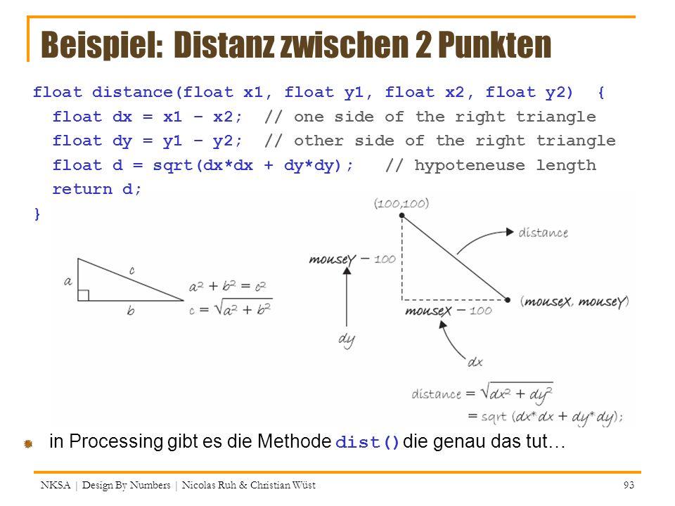 Beispiel: Distanz zwischen 2 Punkten NKSA | Design By Numbers | Nicolas Ruh & Christian Wüst 93 float distance(float x1, float y1, float x2, float y2)