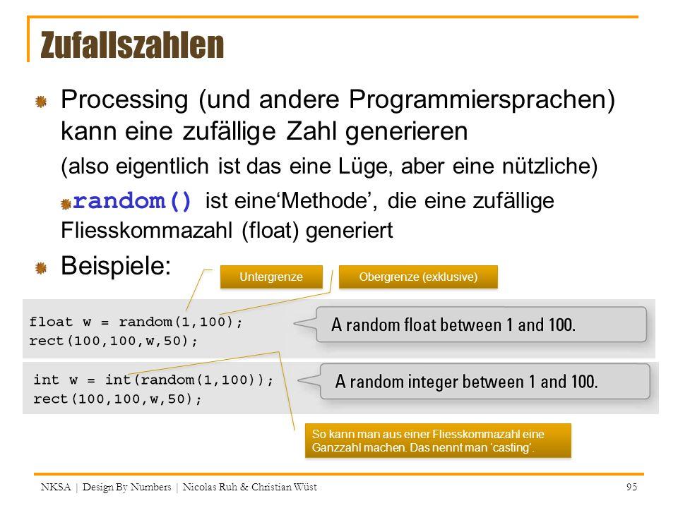 NKSA | Design By Numbers | Nicolas Ruh & Christian Wüst 95 Zufallszahlen Processing (und andere Programmiersprachen) kann eine zufällige Zahl generier