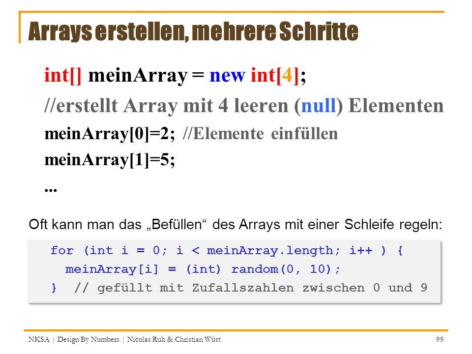 Arrays erstellen, mehrere Schritte int[] meinArray = new int[4]; //erstellt Array mit 4 leeren (null) Elementen meinArray[0]=2; //Elemente einfüllen m