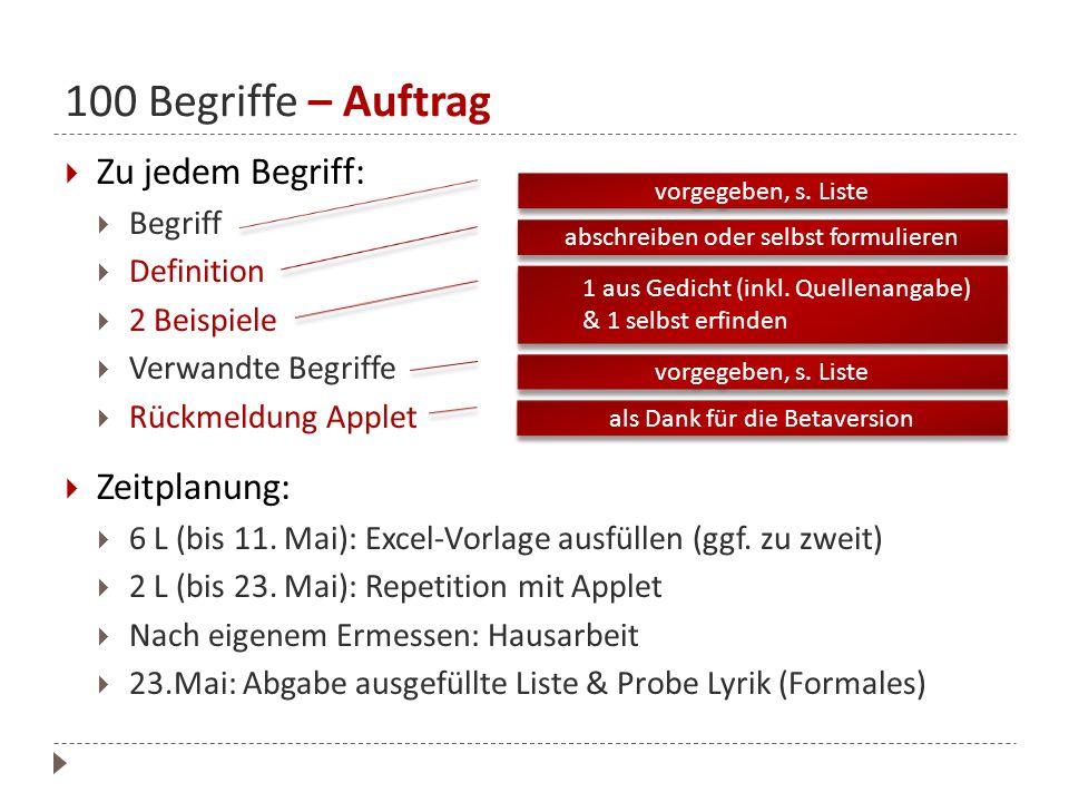 100 Begriffe – Auftrag Zu jedem Begriff: Begriff Definition 2 Beispiele Verwandte Begriffe Rückmeldung Applet Zeitplanung: 6 L (bis 11. Mai): Excel-Vo