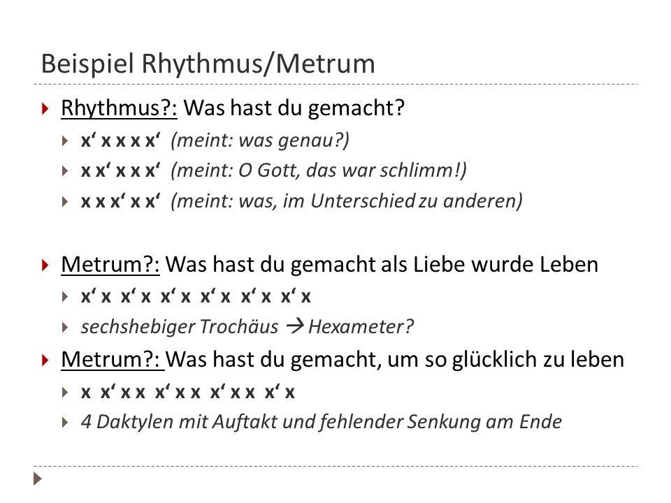 Beispiel Rhythmus/Metrum Rhythmus?: Was hast du gemacht? x x x x x (meint: was genau?) x x x x x (meint: O Gott, das war schlimm!) x x x x x (meint: w