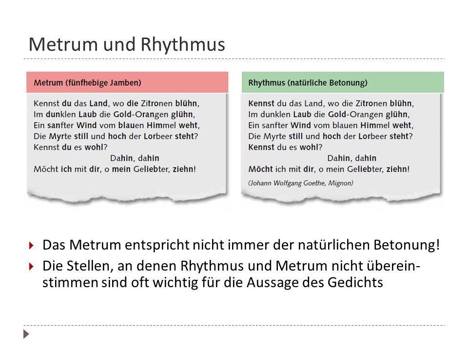 Metrum und Rhythmus Das Metrum entspricht nicht immer der natürlichen Betonung! Die Stellen, an denen Rhythmus und Metrum nicht überein- stimmen sind