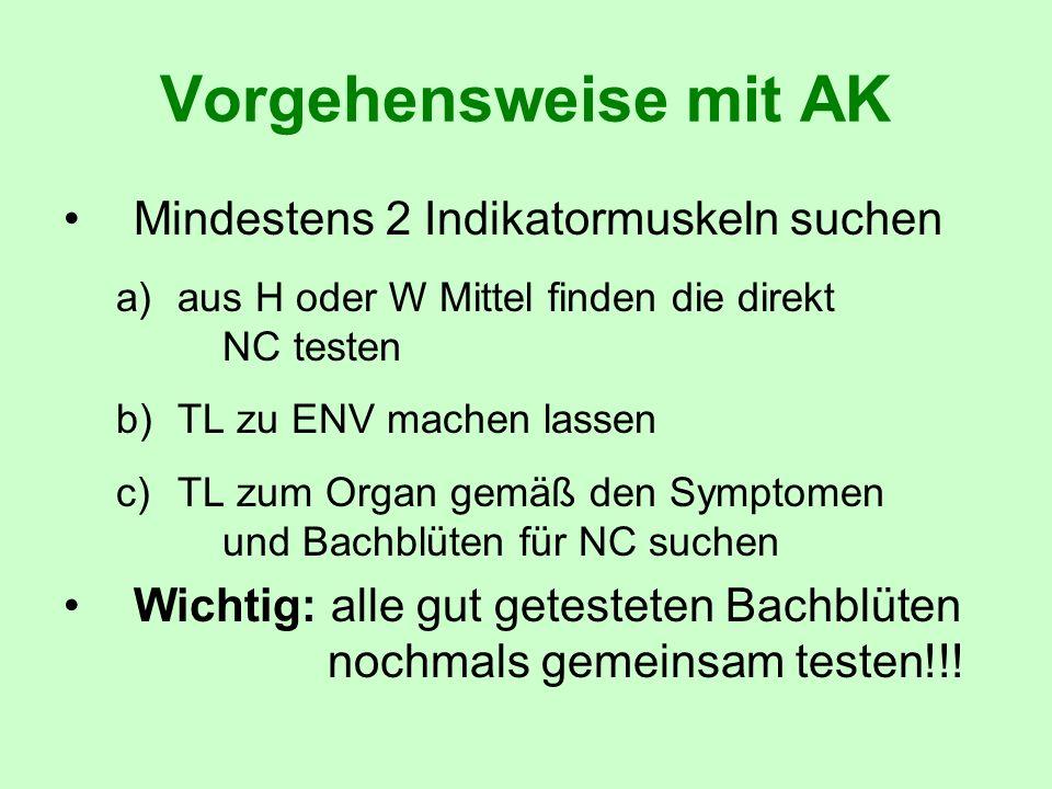 Vorgehensweise mit AK Mindestens 2 Indikatormuskeln suchen a)aus H oder W Mittel finden die direkt NC testen b)TL zu ENV machen lassen c)TL zum Organ