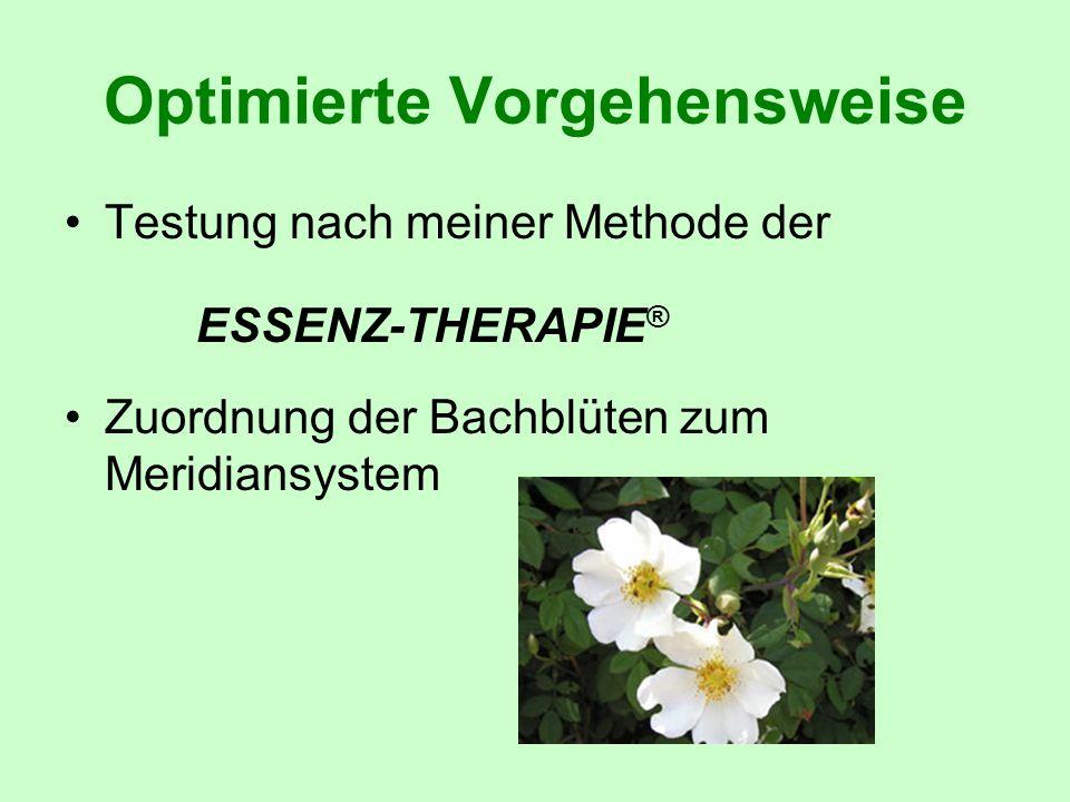 Optimierte Vorgehensweise Testung nach meiner Methode der ESSENZ-THERAPIE ® Zuordnung der Bachblüten zum Meridiansystem