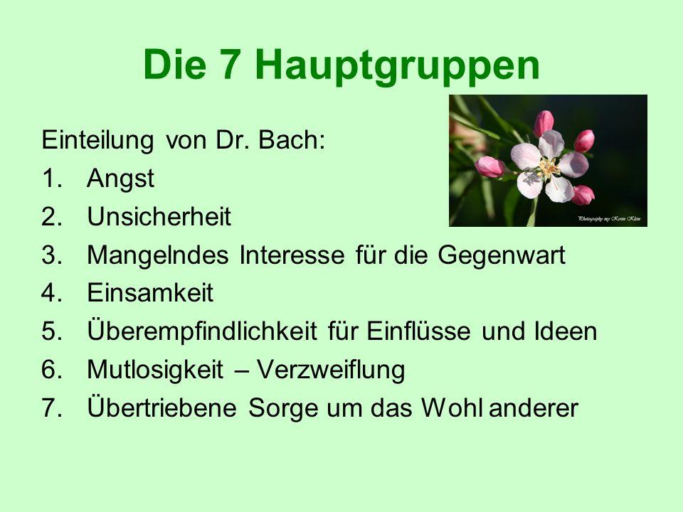 Die 7 Hauptgruppen Einteilung von Dr. Bach: 1.Angst 2.Unsicherheit 3.Mangelndes Interesse für die Gegenwart 4.Einsamkeit 5.Überempfindlichkeit für Ein