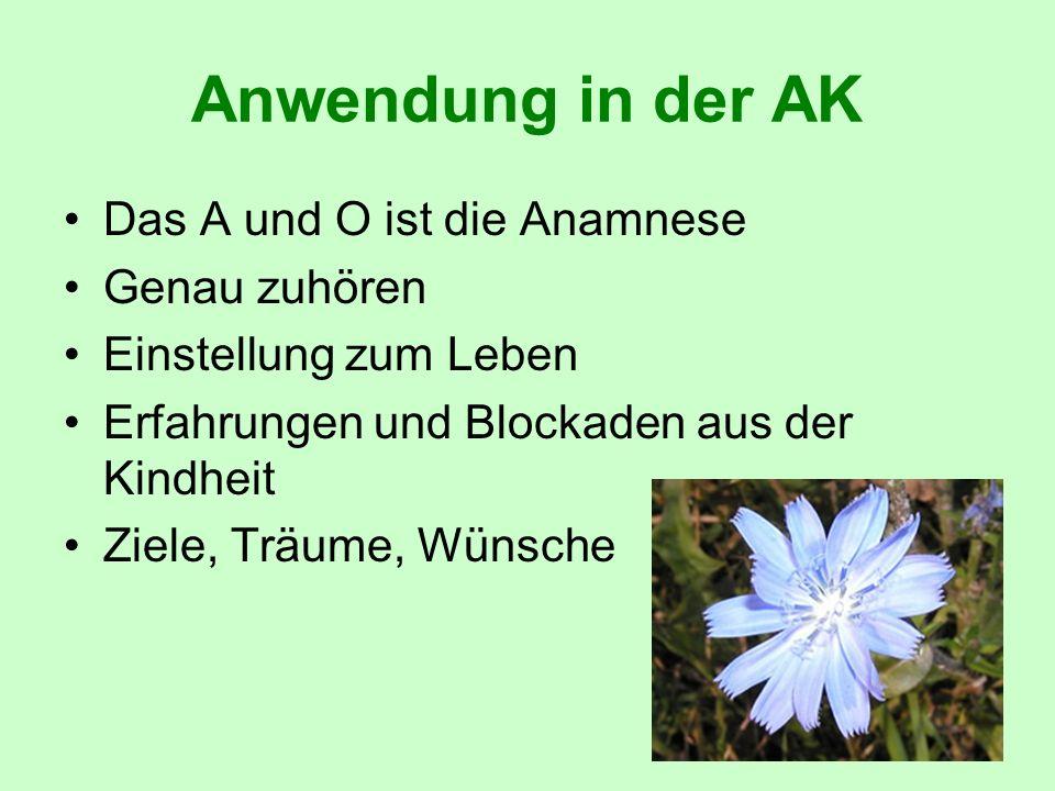 Anwendung in der AK Das A und O ist die Anamnese Genau zuhören Einstellung zum Leben Erfahrungen und Blockaden aus der Kindheit Ziele, Träume, Wünsche