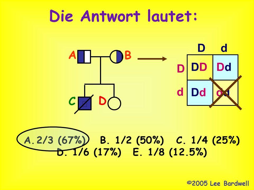 Hier ein Tipp ©2000,2005 Lee Bardwell A.2/3 (67%)B. 1/2 (50%)C. 1/4 (25%) D. 1/6 (17%)E. 1/8 (12.5%) Der Bruder dieser Frau starb an Tay Sachs Disease