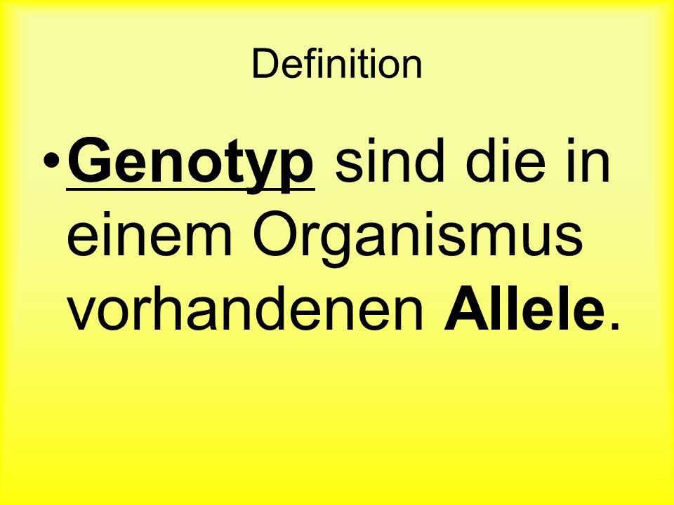 Die Kombination an Allelen, welche man für ein bestimmtes Gen besitzt. Genotyp: BBbBbb Genotyp: BBGenotyp: BbGenotyp: bb