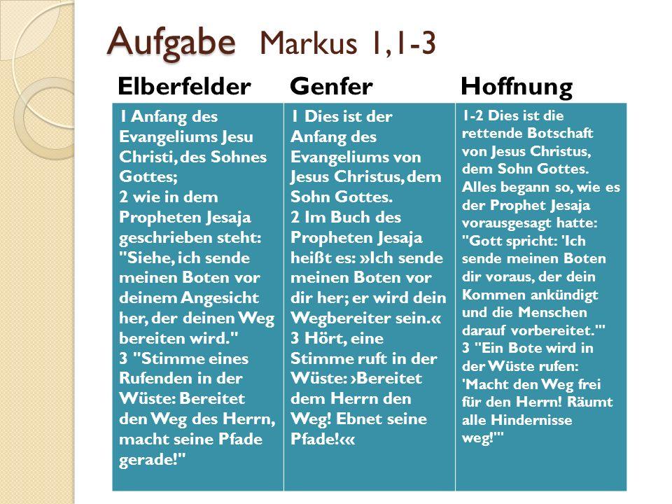 Aufgabe Aufgabe Markus 1,1-3 Elberfelder Genfer Hoffnung 1 Anfang des Evangeliums Jesu Christi, des Sohnes Gottes; 2 wie in dem Propheten Jesaja gesch
