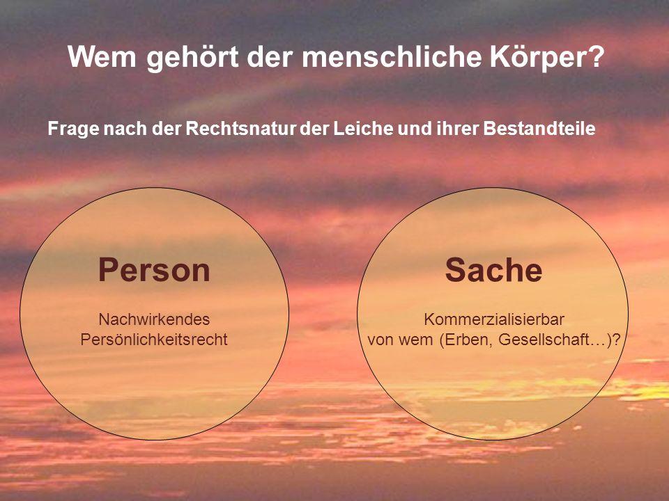 35 Frage nach der Rechtsnatur der Leiche und ihrer Bestandteile Person Nachwirkendes Persönlichkeitsrecht Sache Kommerzialisierbar von wem (Erben, Ges