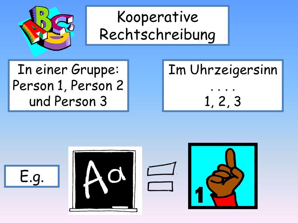 Kooperative Rechtschreibung In einer Gruppe: Person 1, Person 2 und Person 3 Im Uhrzeigersinn.... 1, 2, 3 E.g.