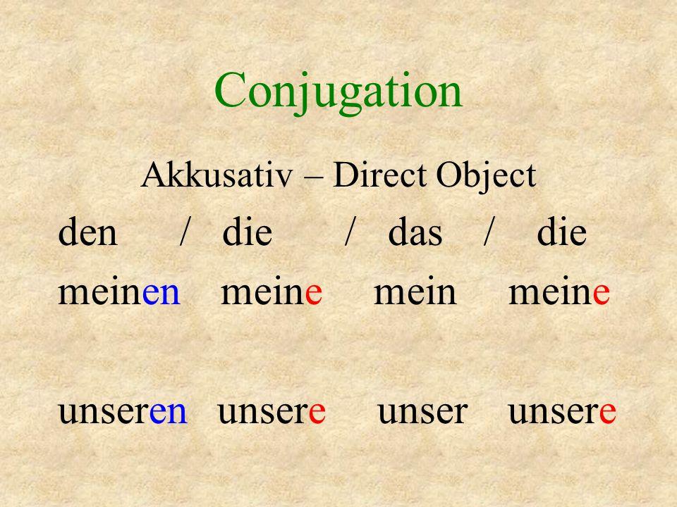 Conjugation Dativ – Indirect Object dem / der / dem / den meinem meiner meinem meinen unserem unserer unserem unseren