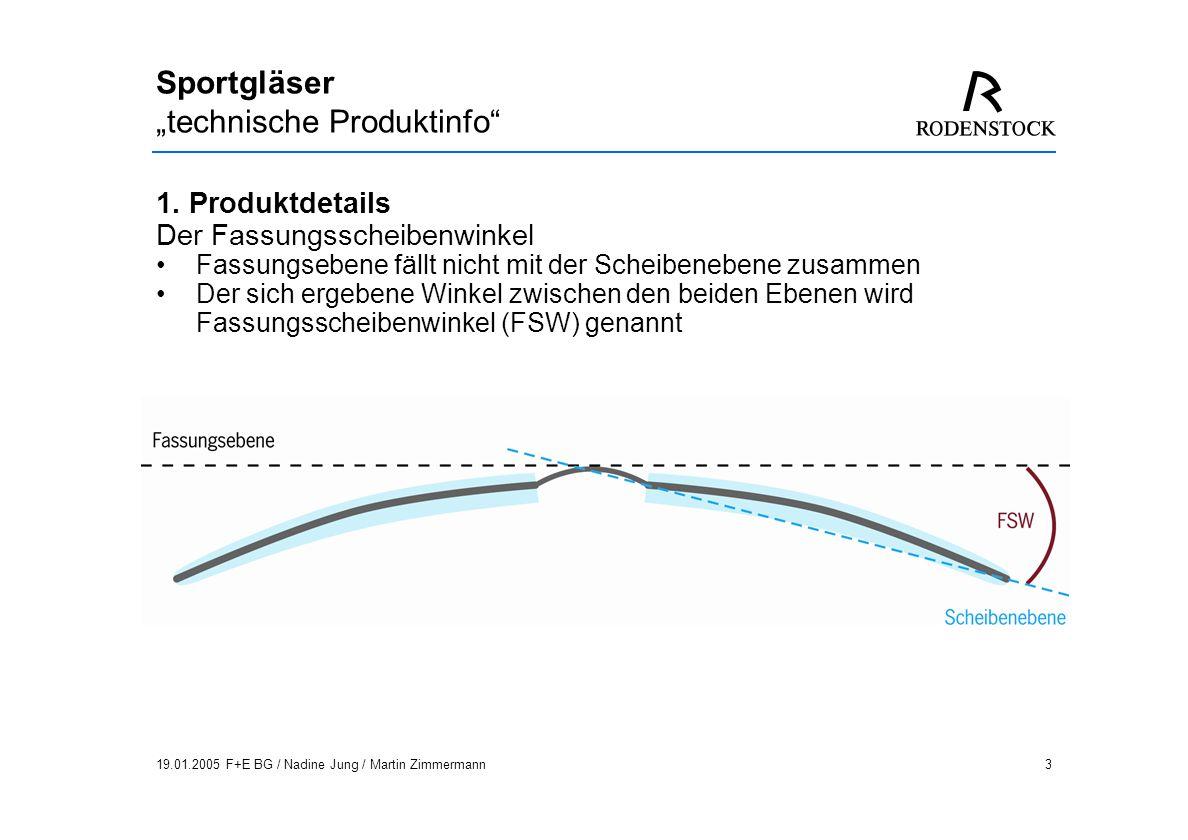 19.01.2005 F+E BG / Nadine Jung / Martin Zimmermann4 Sportgläser technische Produktinfo 1.