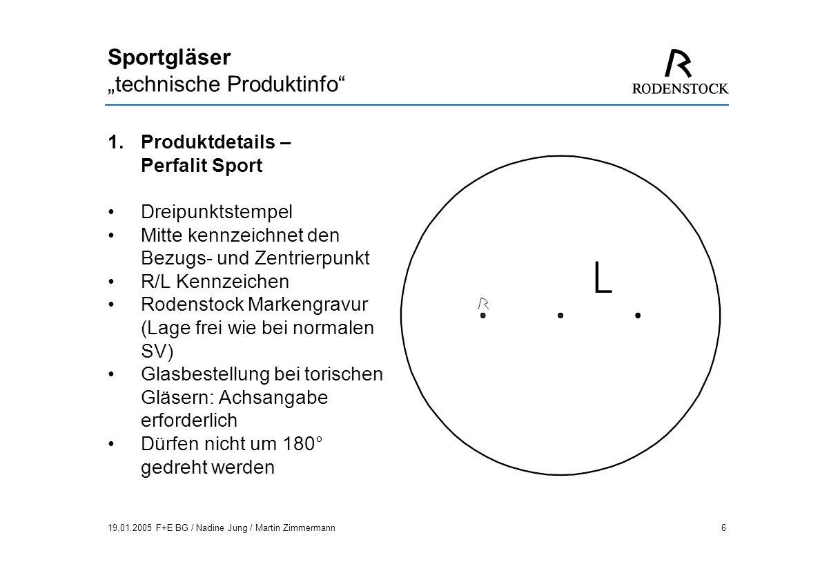 19.01.2005 F+E BG / Nadine Jung / Martin Zimmermann17 Sportgläser technische Produktinfo 1.