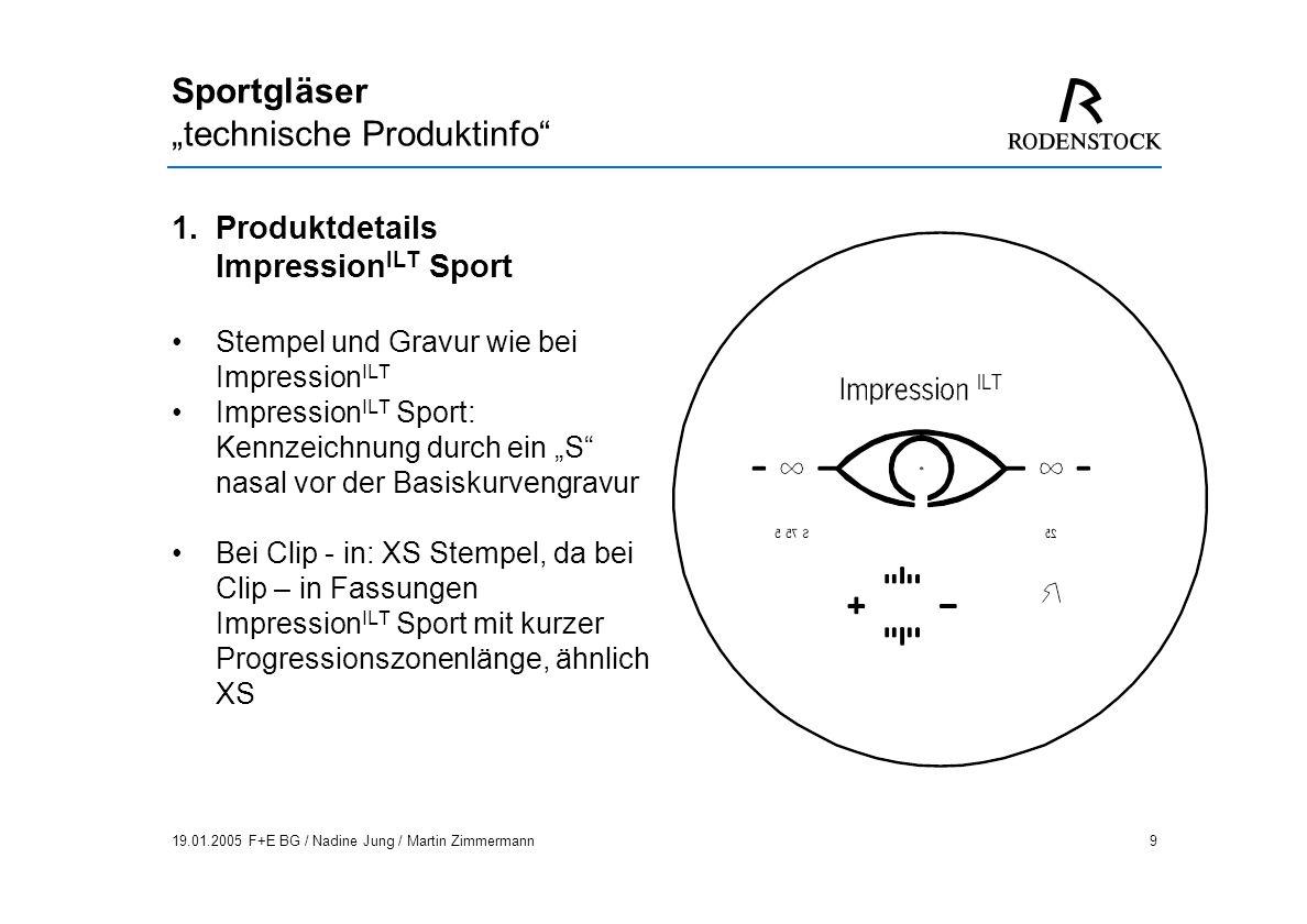 19.01.2005 F+E BG / Nadine Jung / Martin Zimmermann30 Sportgläser technische Produktinfo 4.Glasberechnung Tableau + BTablet: Auftragserfassung, keine Auftragsberechnung.