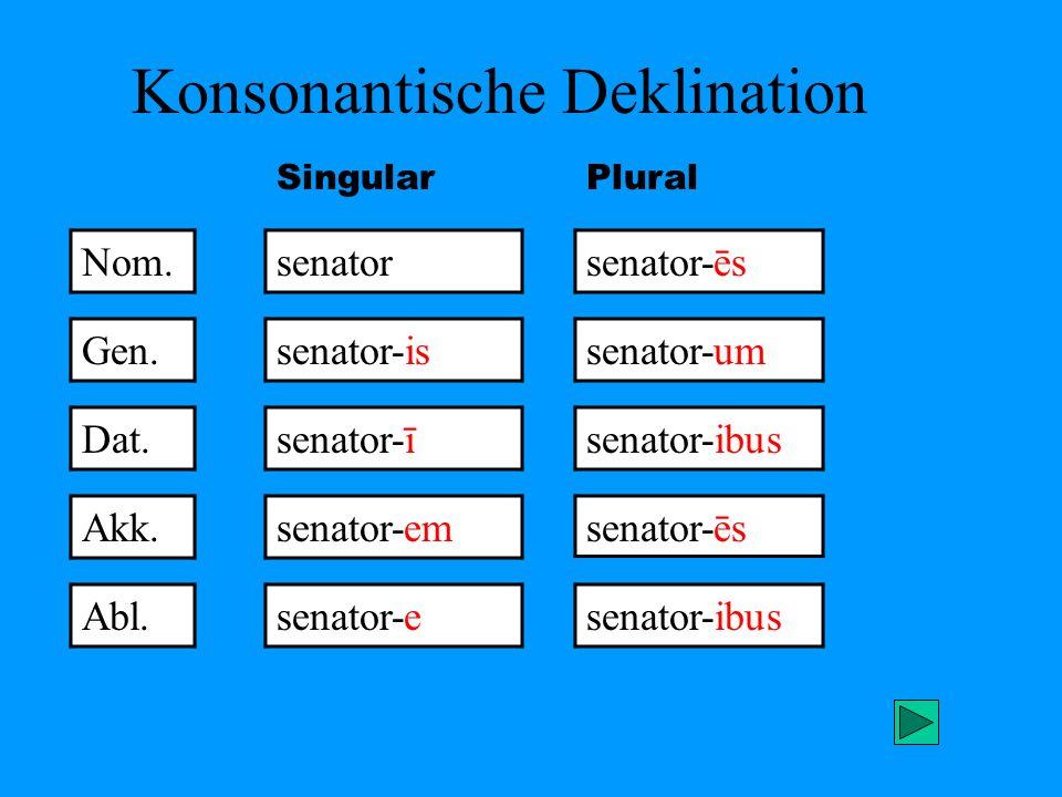 Konsonantische Deklination Nom. senatorsenator-ēs Gen. Dat. Akk. Abl. senator-is senator-ī senator-em senator-e senator-um senator-ibus senator-ēs sen