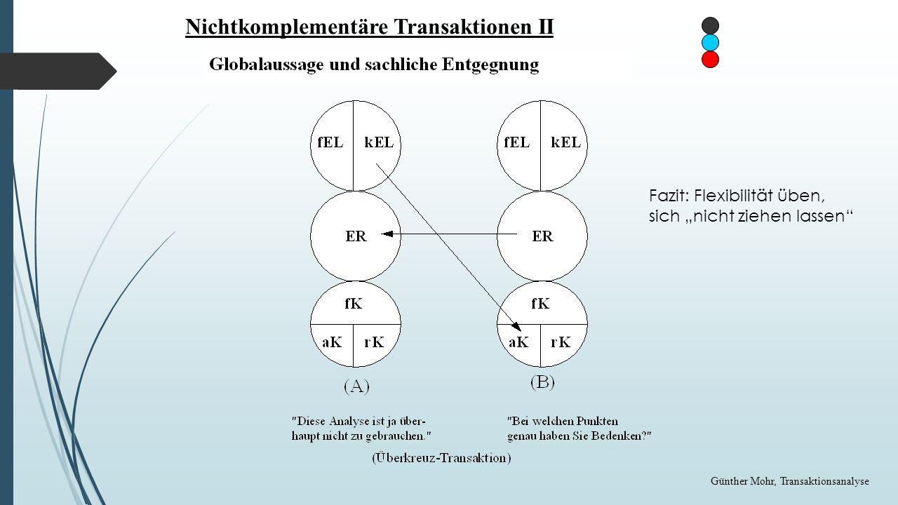 Doppelbödige Transaktionen Günther Mohr, Transaktionsanalyse Beziehungsanalyse Fazit: Verdeckte Ebenen nicht zulassen, sondern zügig ansprechen