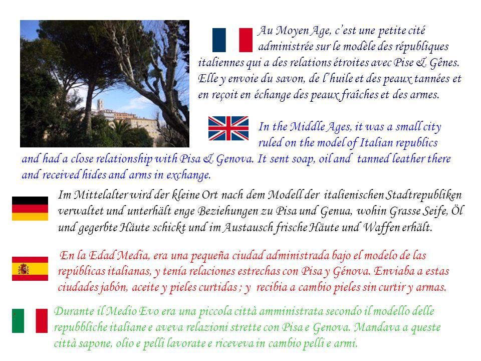 Au Moyen Age, cest une petite cité administrée sur le modèle des républiques italiennes qui a des relations étroites avec Pise & Gênes.