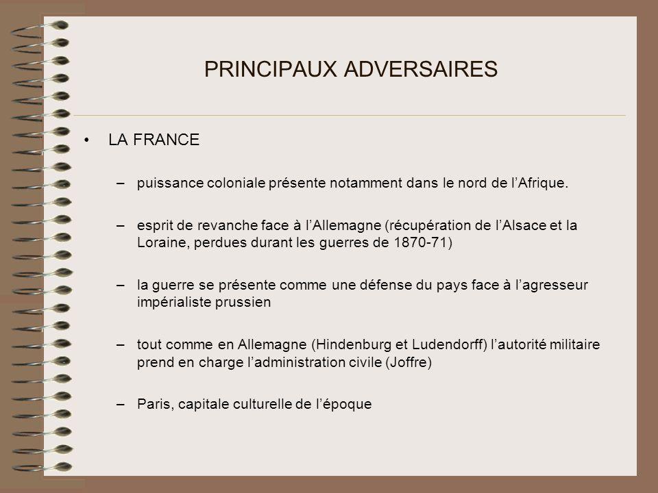 PRINCIPAUX ADVERSAIRES LA FRANCE –puissance coloniale présente notamment dans le nord de lAfrique.