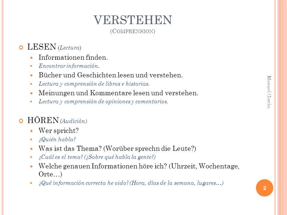 VERSTEHEN (C OMPRENSION ) LESEN ( Lectura ) Informationen finden.