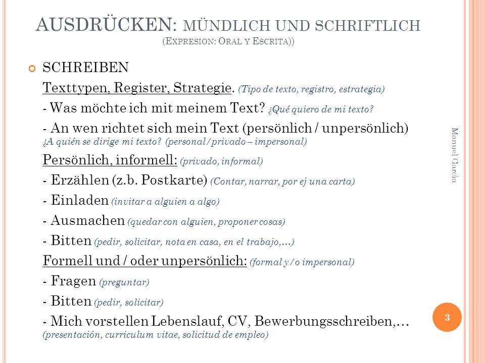 AUSDRÜCKEN: MÜNDLICH UND SCHRIFTLICH (E XPRESION : O RAL Y E SCRITA )) SCHREIBEN Texttypen, Register, Strategie.