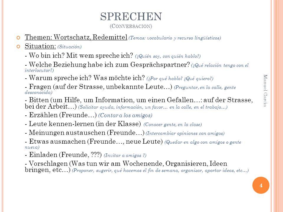 SPRECHEN (C ONVERSACION ) Themen: Wortschatz, Redemittel (Temas: vocabulario y recurso lingüísticos) Situation: (Situación) - Wo bin ich.