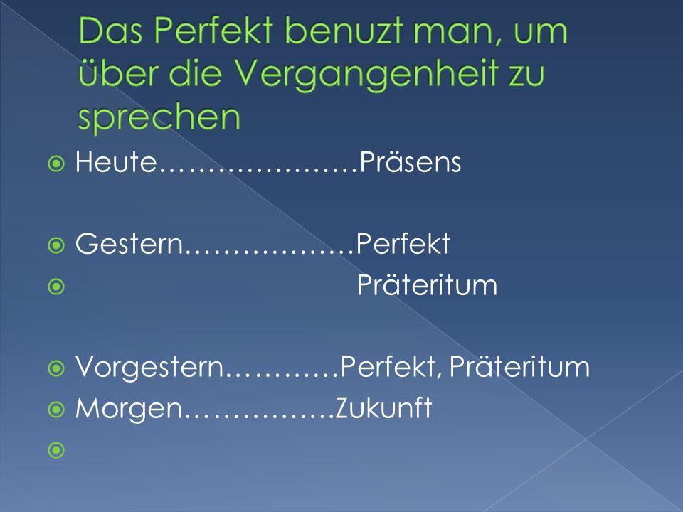 Hilfsverb Haben oder Sein (verbo auxiliar) Und das Partizip II (Zum Beispiel gelernt, gelessen, getanzt)