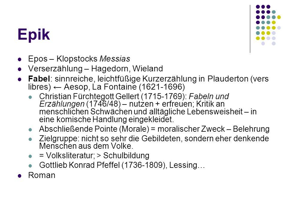 Epik Epos – Klopstocks Messias Verserzählung – Hagedorn, Wieland Fabel: sinnreiche, leichtfüßige Kurzerzählung in Plauderton (vers libres) Aesop, La F