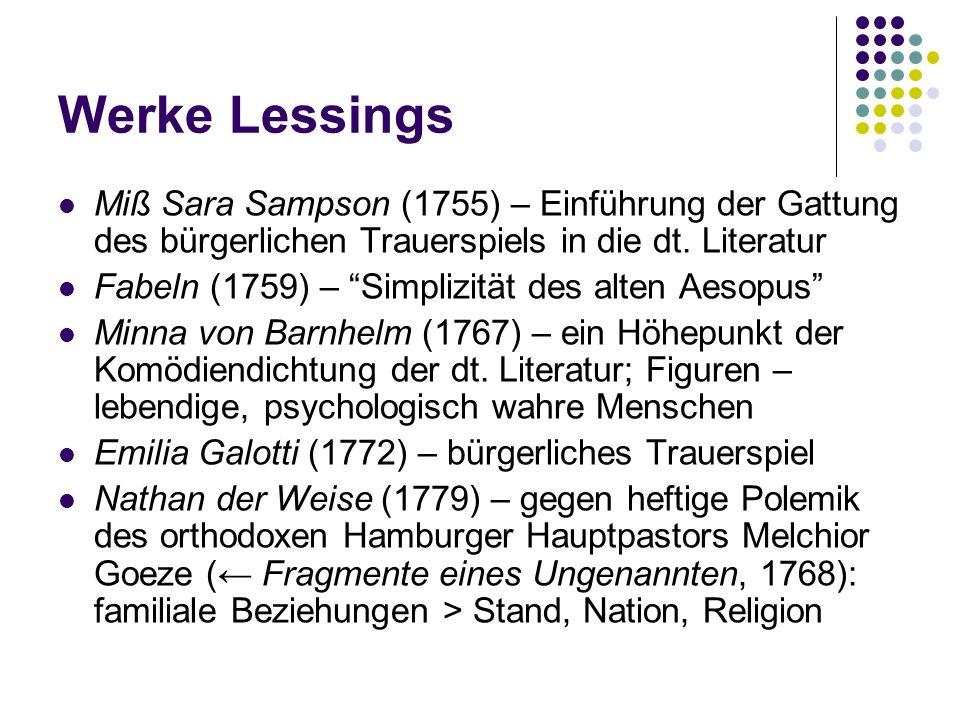Werke Lessings Miß Sara Sampson (1755) – Einführung der Gattung des bürgerlichen Trauerspiels in die dt. Literatur Fabeln (1759) – Simplizität des alt