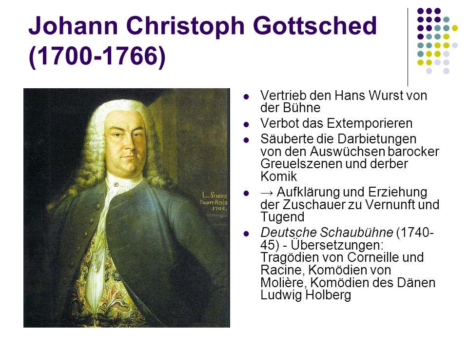 Johann Christoph Gottsched (1700-1766) Vertrieb den Hans Wurst von der Bühne Verbot das Extemporieren Säuberte die Darbietungen von den Auswüchsen bar