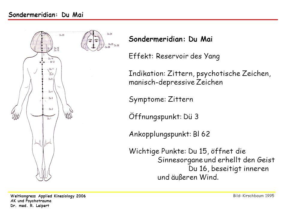 Weltkongress Applied Kinesiology 2006 AK und Psychotrauma Dr. med. R. Leipert Sondermeridian: Du Mai Effekt: Reservoir des Yang Indikation: Zittern, p