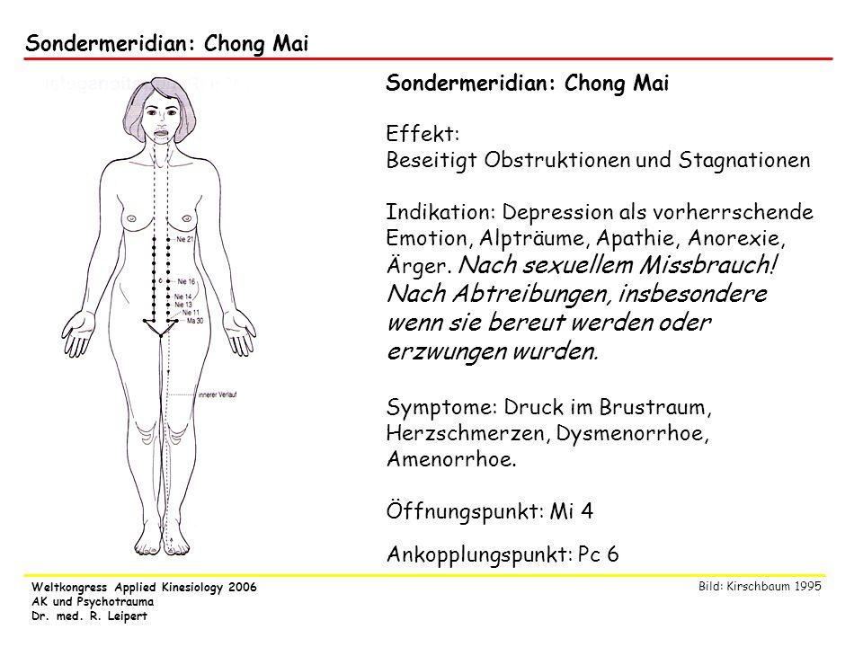 Weltkongress Applied Kinesiology 2006 AK und Psychotrauma Dr. med. R. Leipert Sondermeridian: Chong Mai Effekt: Beseitigt Obstruktionen und Stagnation